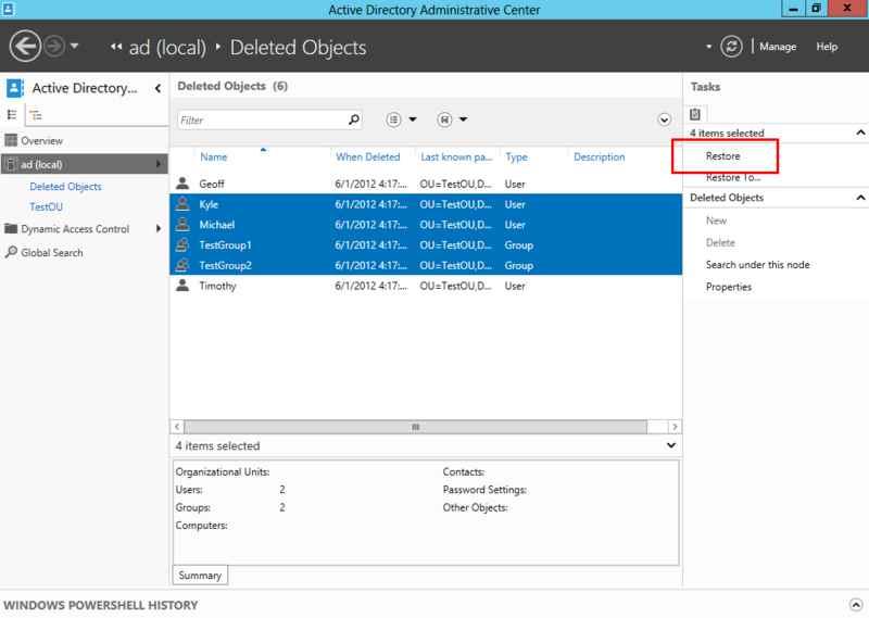 Что нового в корзине Active Directory в Windows Server 2012-09