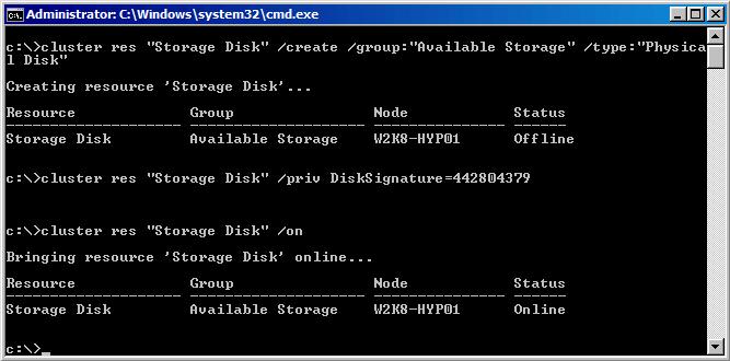 Как из командной строки настроить Hyper-V Server 2008 R2 Failover Cluster