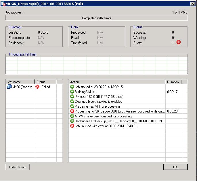 Ошибка в esxi 5.1: an error occurred while quiescing the virtual machine. The error code was: 2 The error message was: Custom quiesce script failed.