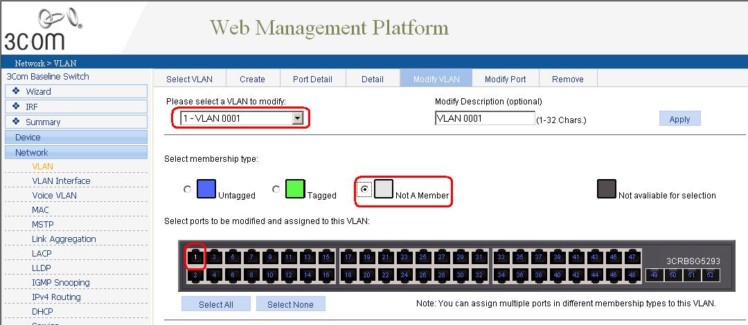 Как через web интерфейс настроить VLAN на коммутаторе 3Com Baseline Switch 2952-03