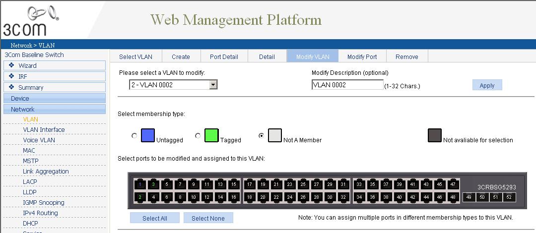 Как через web интерфейс настроить VLAN на коммутаторе 3Com Baseline Switch 2952-04