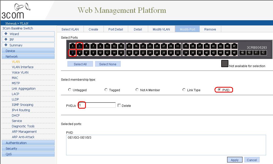 Как через web интерфейс настроить VLAN на коммутаторе 3Com Baseline Switch 2952-05