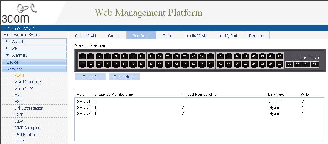 Как через web интерфейс настроить VLAN на коммутаторе 3Com Baseline Switch 2952-06