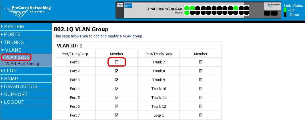 Как через web интерфейс настроить VLAN на коммутаторе HP 1800-24G (J9028B)-05