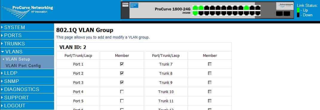 Как через web интерфейс настроить VLAN на коммутаторе HP 1800-24G (J9028B)-07