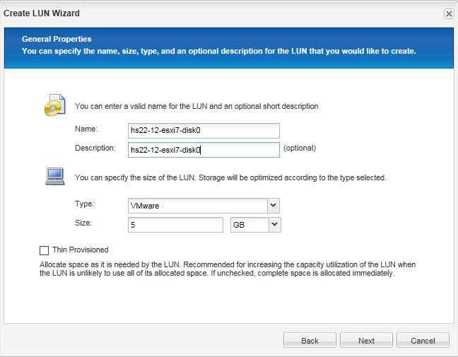 Как через web создать новый лун в NetApp 2240-02