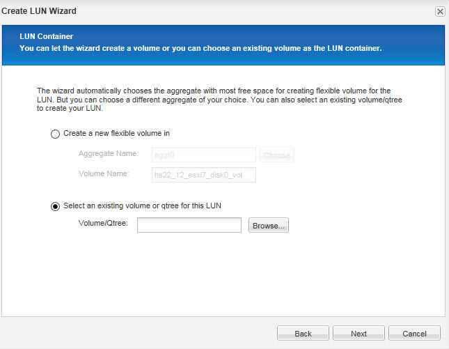 Как через web создать новый лун в NetApp 2240-03