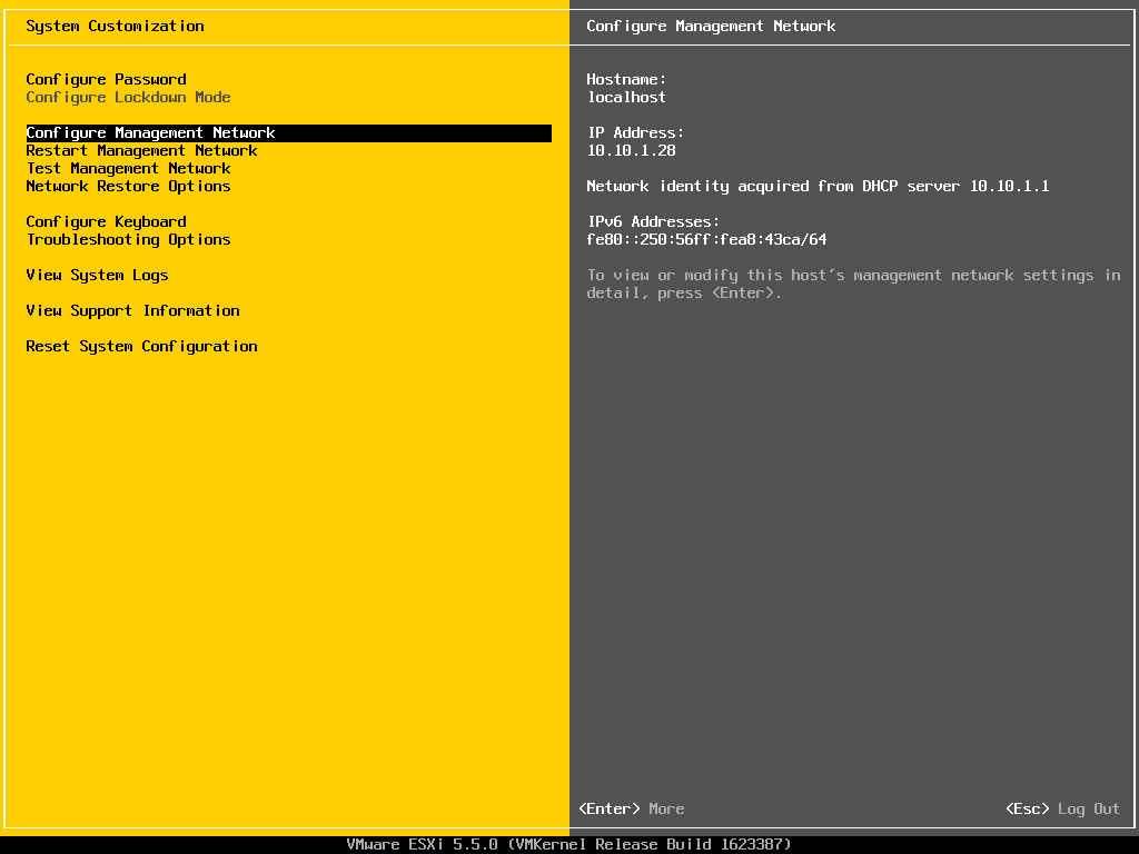 Описание локальных параметров в ESXI 5.x.x-05