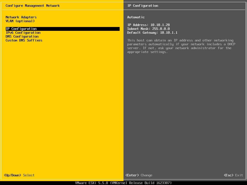 Описание локальных параметров в ESXI 5.x.x-10