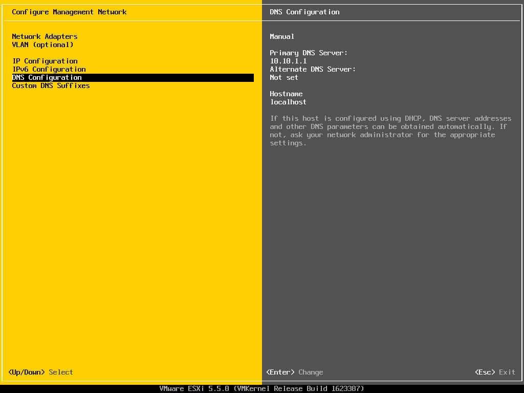 Описание локальных параметров в ESXI 5.x.x-15