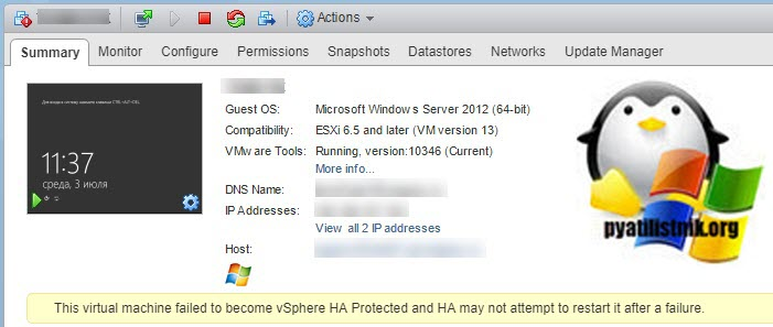 This virtual machine falied to become vSphere HA Protected add HA may not attempt to restart it after a failure