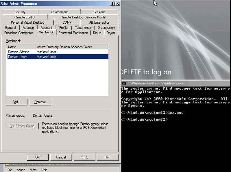 Как сбросить пароль Доменому Администратору в Windows server 2008R2, или пр