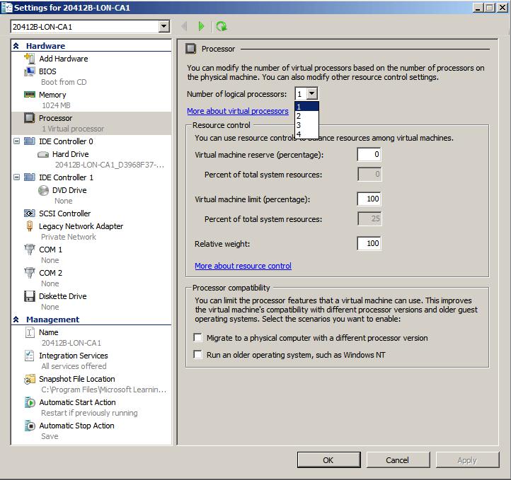 Как снять ограничение в Hyper-V на 4 логических процессора в Windows Server 2008 R2 -01