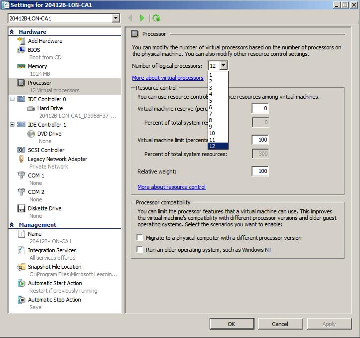 Как снять ограничение в Hyper-V на 4 логических процессора в Windows Server 2008 R2 -06