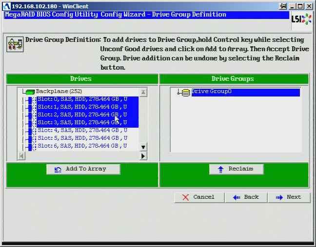 Как создать raid10, raid50, raid60, raid5 на контроллере LSI MegaRAID SAS PCI Express ROMB-14