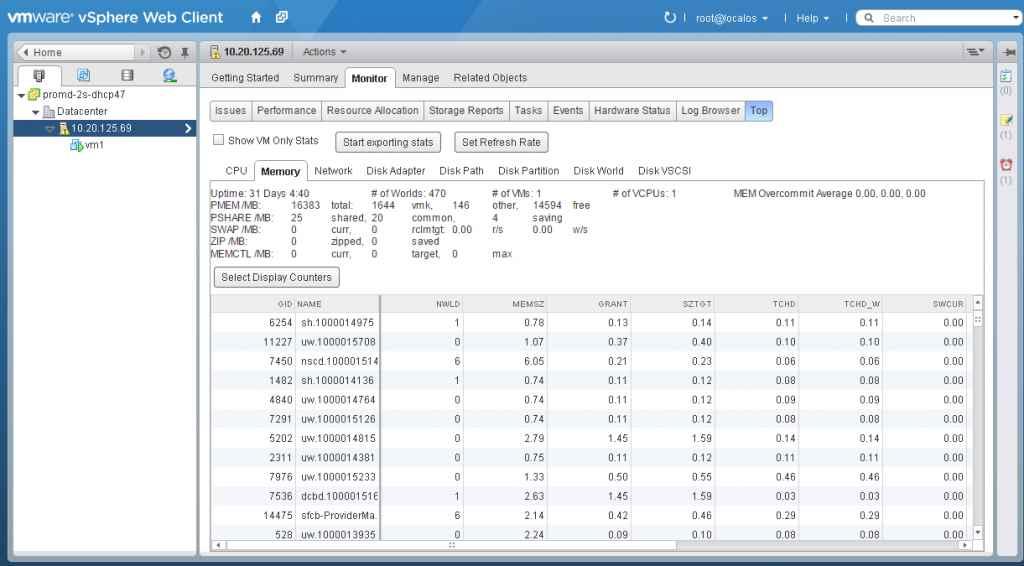 Утилита esxtop в vSphere Web Client. VMware ESXtopNGC Plugin