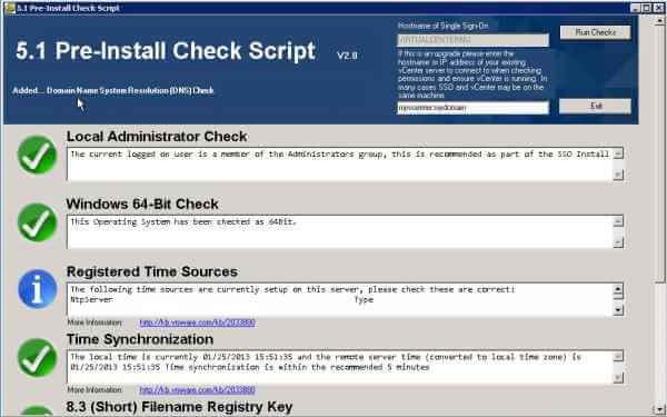 VMware vCenter 5.1 Pre-Install Check Script