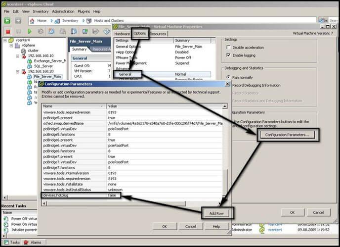 Как отключать Hot Plug для виртуальных машин VMware vSphere