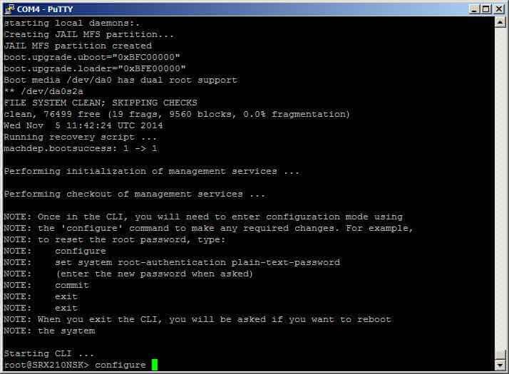 Как сменить пароль root в Juniper SRX-10