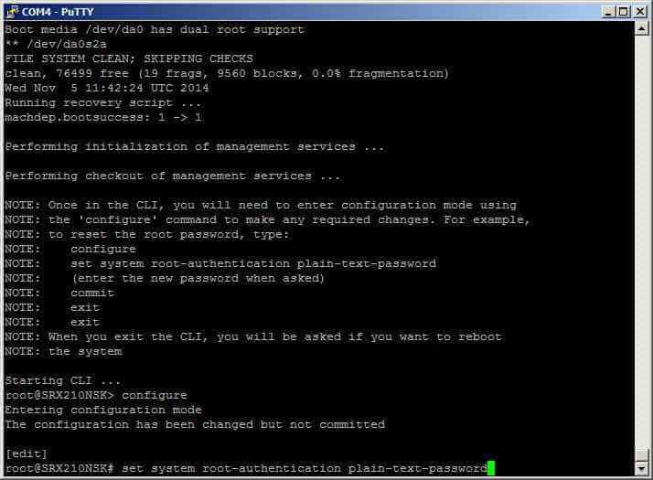 Как сменить пароль root в Juniper SRX-11