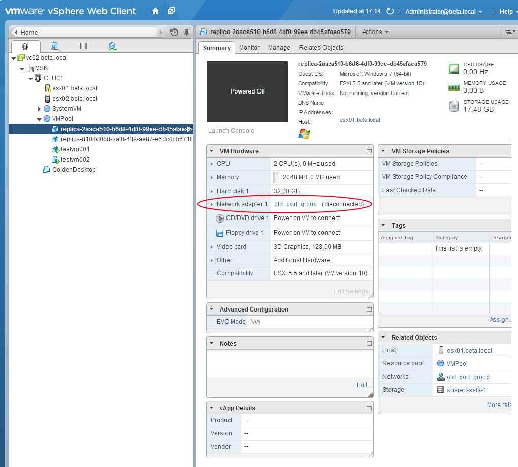 Как сменить сеть для Linked-clone ВМ в VMware View-02