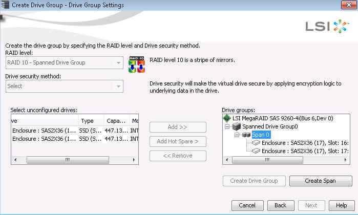 Как создать RAID на контроллере LSI MegaRAID через утилиту MegaRAID Storage Manager-19
