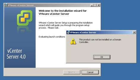 Как установить VMware vCenter на хост с Domain Controller