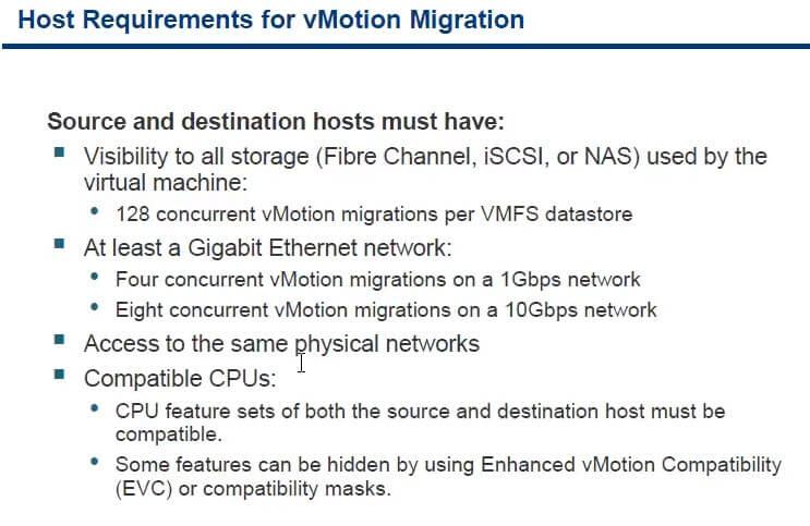 Требования к Vmware vmotion