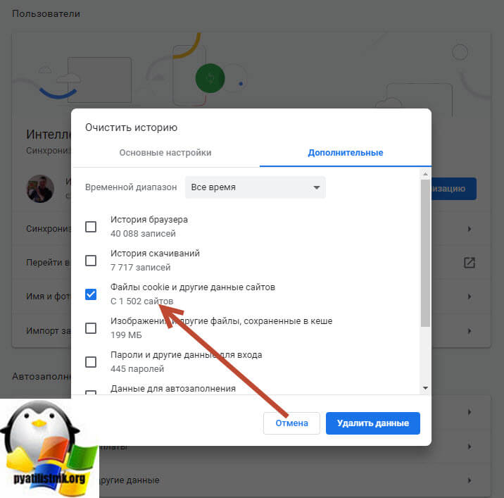 Удаление cookie в Google Chrome