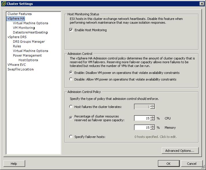 Что такое HA Admission control в ESXI 5.x.x