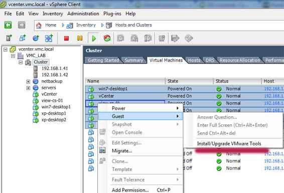Как обновить VMware Tools для нескольких виртуальных машин одновременно из vSphere Client на ESXI 5.x.x