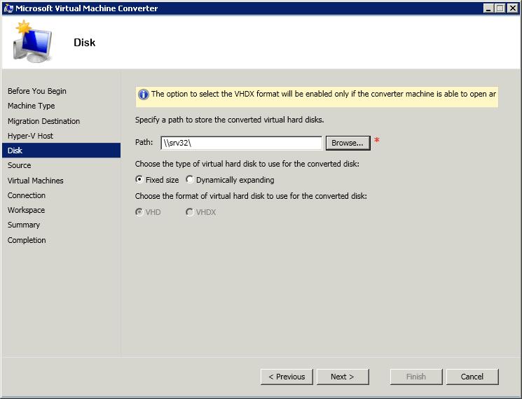 Как сконвертировать виртуальную машину ESXI 5.5 (vmdk) в Hyper-V (vhdx) с помощью Virtual Machine Converter 3.1-05