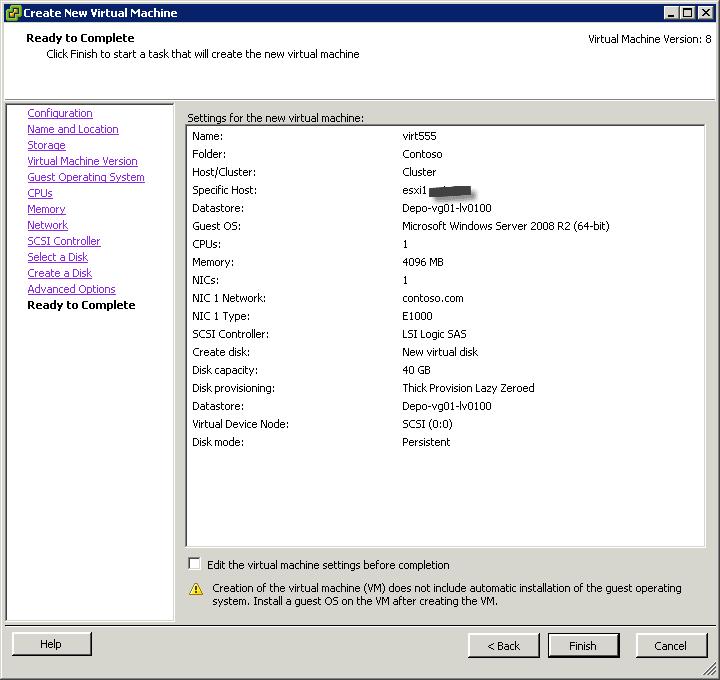 Как создать виртуальную машину в vCenter и ESXI 5.x.x-26