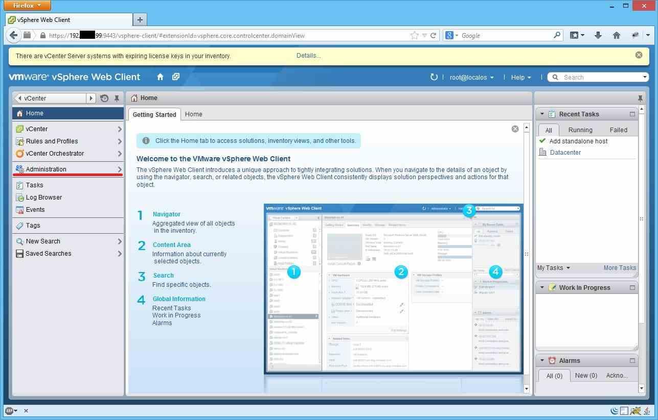 Как установить лицензии вvCenter и ESXI 5.x.x через Web Client-01