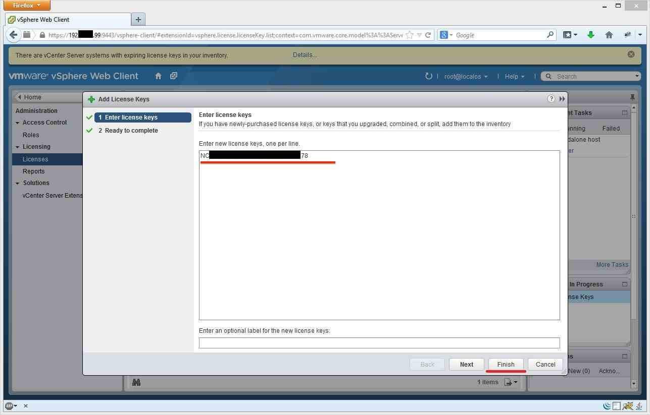 Как установить лицензии вvCenter и ESXI 5.x.x через Web Client-03