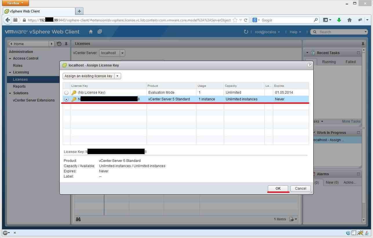 Как установить лицензии вvCenter и ESXI 5.x.x через Web Client-06