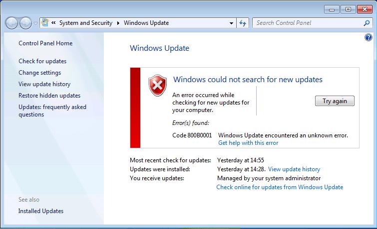 Ошибка 800B0001 при попытке загрузить обновление в Windows