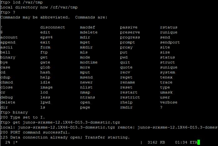 Как обновить прошивку (firmware) в Juniper SRX-3 часть с ftp сервера-04