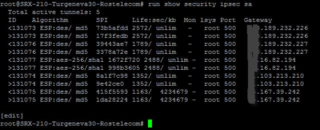 Как в Juniper SRX посмотреть состояние фаз в VPN туннеле по протоколам IKE и IPSEC-02
