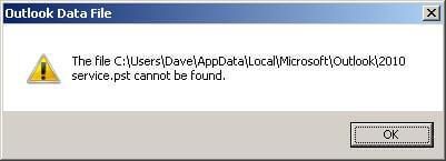 ошибка 8004010F. Не удается получить доступ к файлу данных Outlook