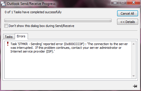 Error 0x800ccc0f in MS Outlook 2010
