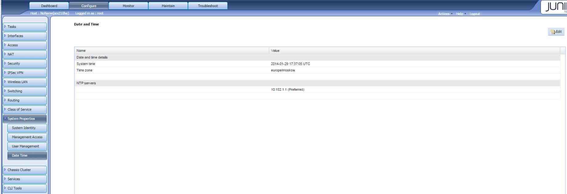 Как в Juniper SRX настроить время через веб интерфейс-01