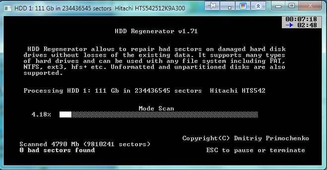 Восстановление жесткого диска с помощью HDD Regenerator-07