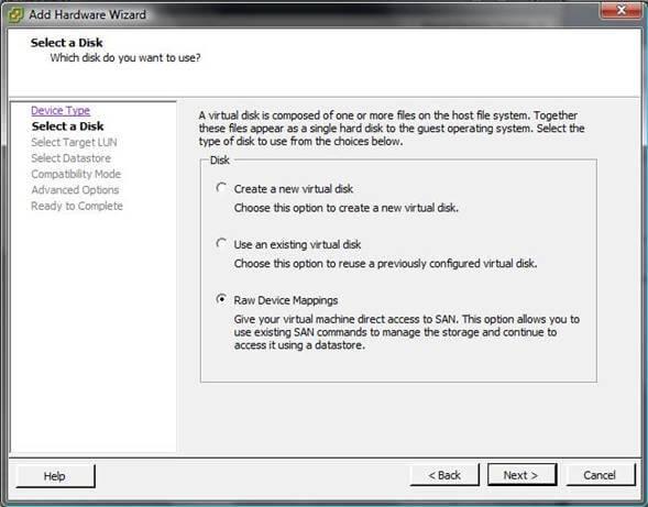 Как добавить диск raw device mapping (RDM) в VM ESXI 5.5-03