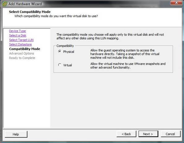 Как добавить диск raw device mapping (RDM) в VM ESXI 5.5-06