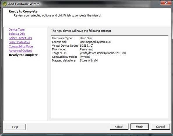 Как добавить диск raw device mapping (RDM) в VM ESXI 5.5-08