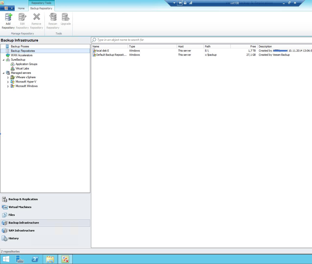 список репозиториев Veeam