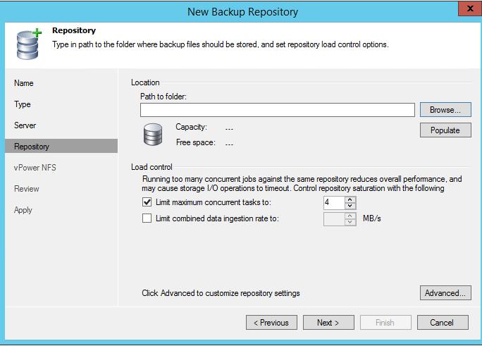 Выбор папки для Backup Repository