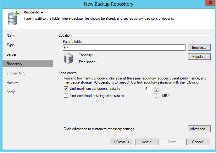 how to create veeam backup repository