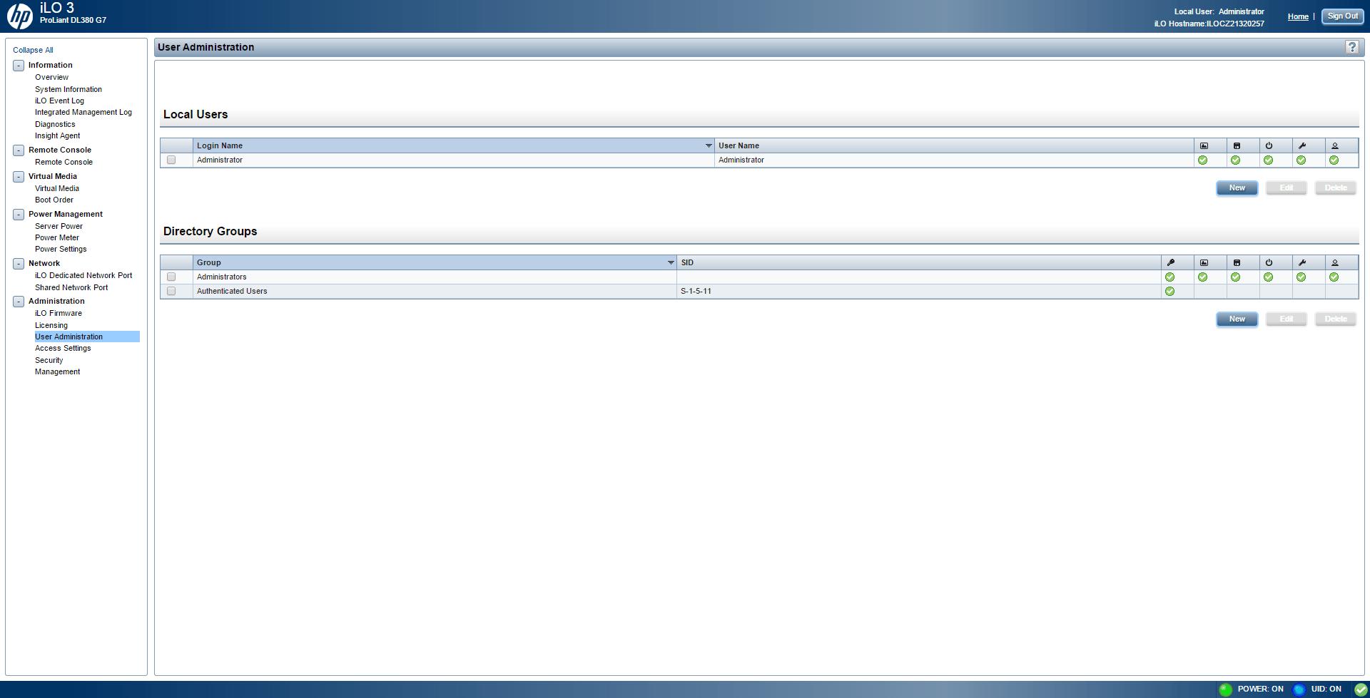 Как создать нового пользователя в ILO 3 в HP dl380 g7-01